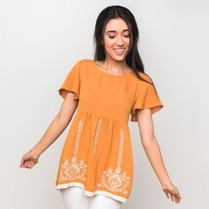 Jane & Janie ochre embroidered babydoll blouse